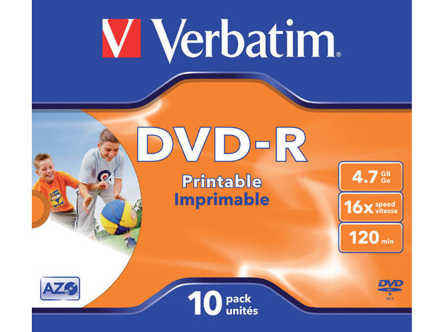 DVD-R VERBATIM 4.7GB 16X PRINTABLE 10PK JC 1